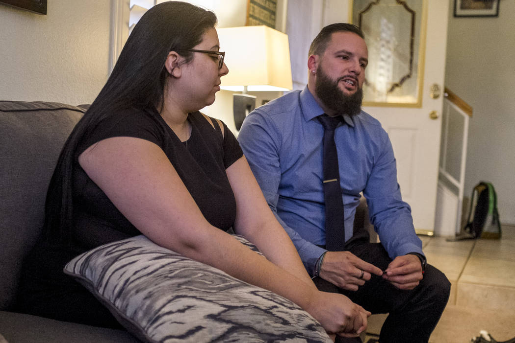 William King, a Route 91 Harvest festival shooting survivor, talks about the shooting with his fiancée Kimberly King at their Summerlin home on Wednesday, Jan. 31, 2018.  Patri ...