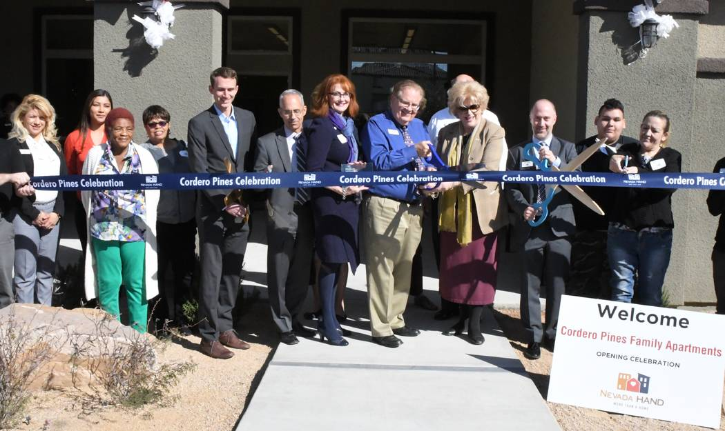 Las Vegas Mayor Carolyn Goodman (center) joins residents, Nevada HAND and housing and financing partners at Cordero Pines, a new affordable apartment complex in northeast Las Vegas. (Nevada HAND)