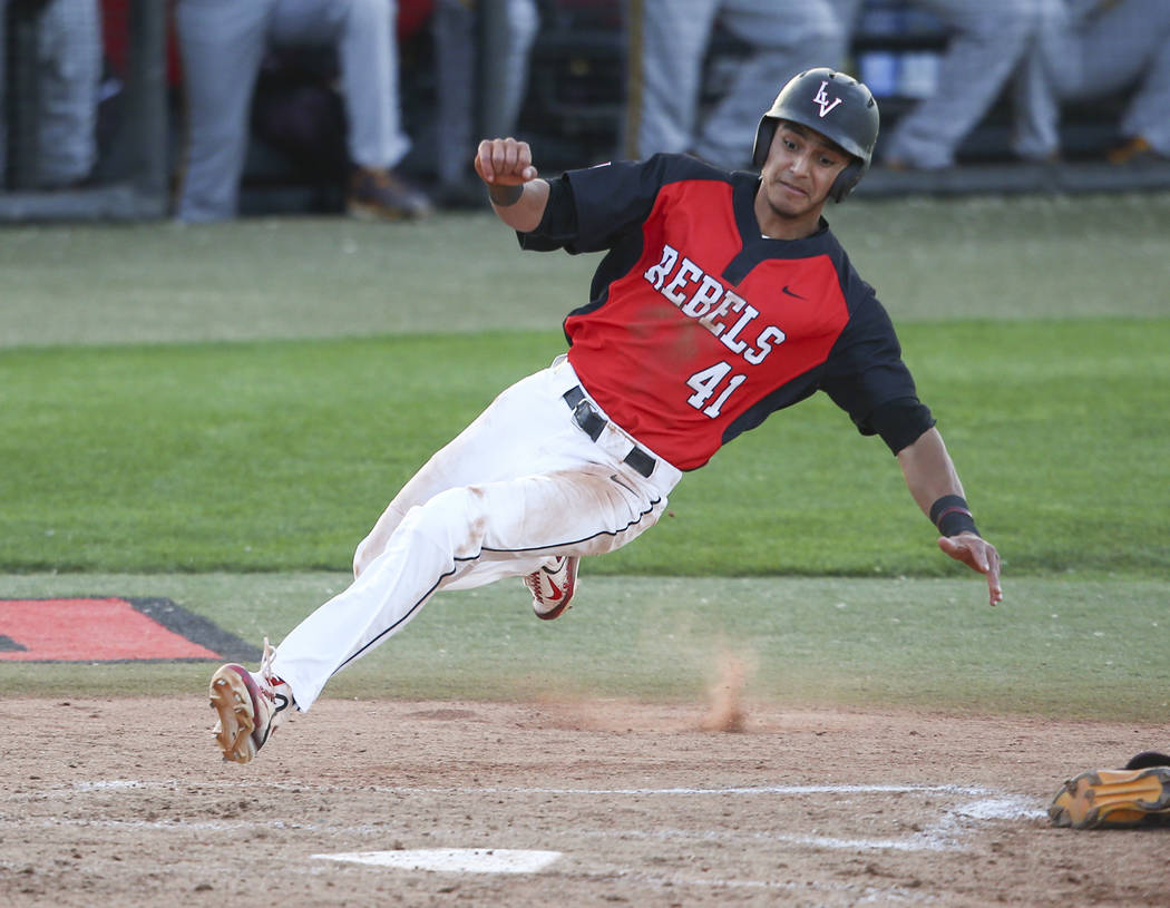 Nick Rodriguez, shown last season, went 3-for-3 with a home run Friday, helping UNLV open its Mountain West season with a 7-6 win over Fresno State at Wilson Stadium. (Chase Stevens Las Vegas Revi ...