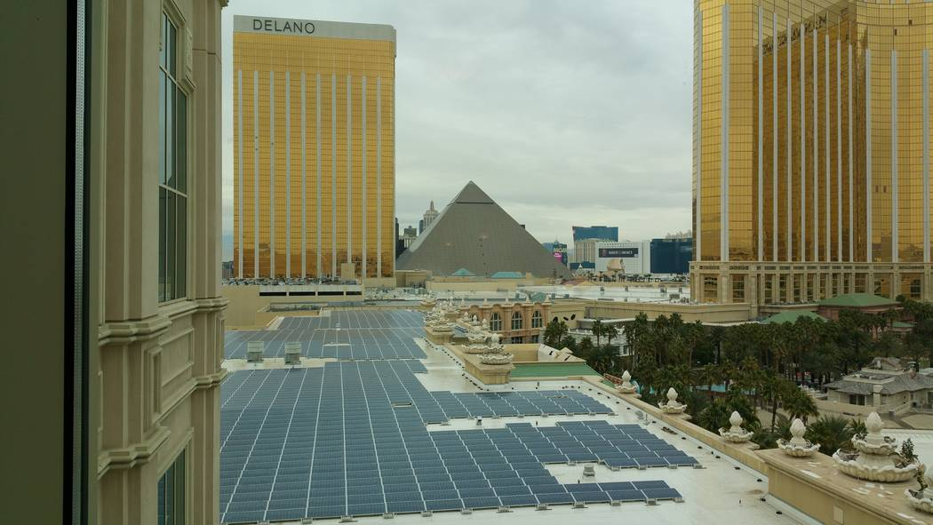 Mandalay Bay Convention Center rooftop solar farm can harvest up to 8.3 Megawatts of power from the sun to provide electricity for 25 percent of the resort's daily usage. (Stan Hanel RJNewHomes.Vegas)