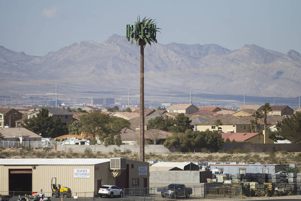 A Verizon cell tower near the intersection of W. Pebble Road and W. Torino Avenue in Las Vegas, Thursday, Feb. 22, 2018. (Erik Verduzco/Las Vegas Review-Journal)