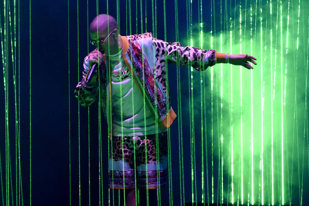 Bad Bunny performs at the 18th annual Latin Grammy Awards at the MGM Grand Garden Arena on Thursday, Nov. 16, 2017, in Las Vegas. (Chris Pizzello/Invision/AP)