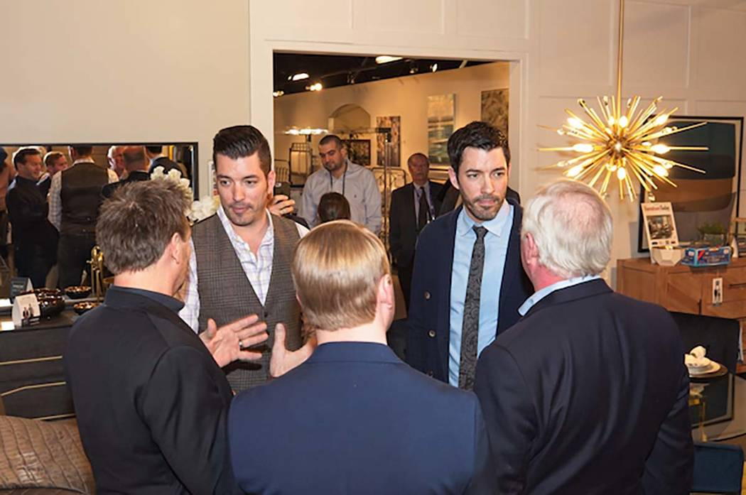 """Jonathan and Drew Scott, of HGTV's """"Property Brothers,"""" attended the 2018 Las Vegas Market in support of their Scott Living home line. (Scott Brothers Global)"""