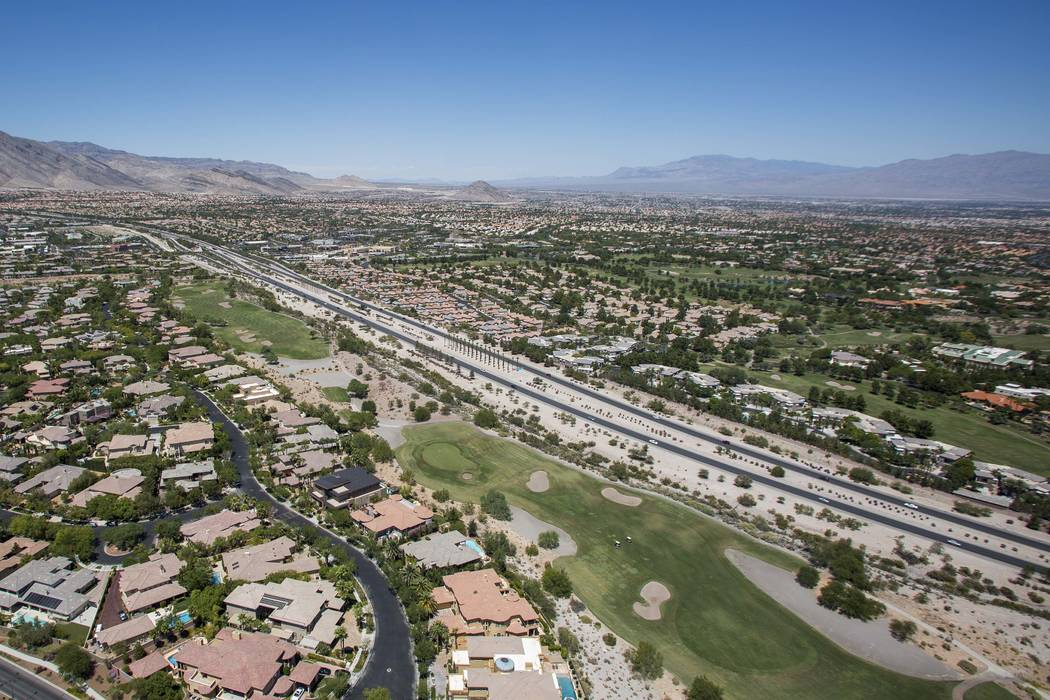 Summerlin Parkway is seen Aug. 16 from the new Las Vegas Metropolitan Police Department helicopter. The highly trafficked road has come a long way from humble beginnings. (Patrick Connolly Las Veg ...