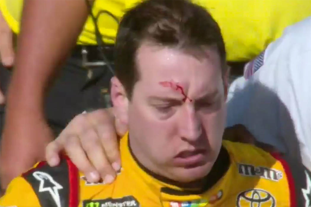 Kyle Busch leaves after a fight with Joey Logano at Las Vegas Motor Speedway on Sunday, March 12, 2017 (screengrab/Fox)