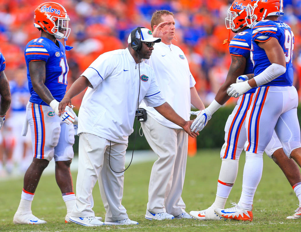 Florida linebackers coach Tim Skipper during the Gators' 17-16 loss against the LSU Tigers on Saturday, October 7, 2017 at Ben Hill Griffin Stadium in Gainesville, FL / UAA Communications photo by ...