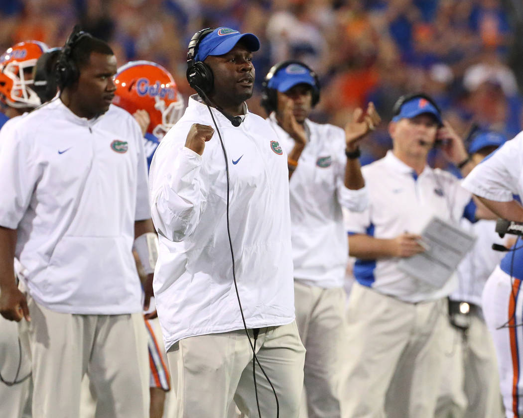 Florida running backs coach Tim Skipper during the Gators' game against the Georgia Bulldogs on Saturday, October 31, 2015 at EverBank Field in Jacksonville, FL / UAA Communications photo by Tim Casey