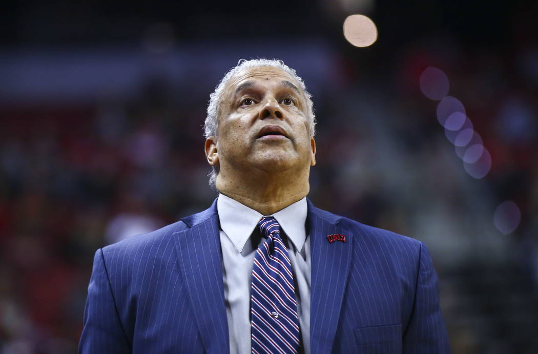 UNLV Rebels head coach Marvin Menzies during the second half of a basketball game against the Fresno State Bulldogs at the Thomas & Mack Center in Las Vegas on Wednesday, Feb. 21, 2018. Chase  ...