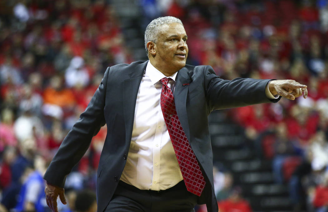 UNLV head coach Marvin Menzies points to the court as his team plays UNR during the second half of a basketball game at the Thomas & Mack Center in Las Vegas on Wednesday, Feb. 28, 2018. UNR w ...