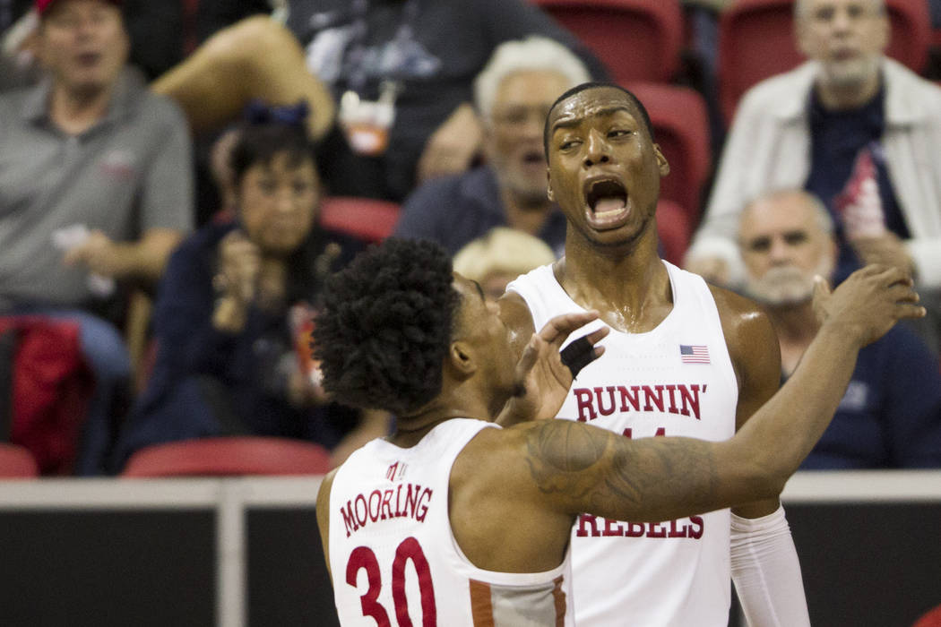 UNLV Rebels forward Brandon McCoy (44) reacts after getting called for a defensive foul against Air Force Falcons in the second half of the Mountain West Conference men's basketball tournament gam ...