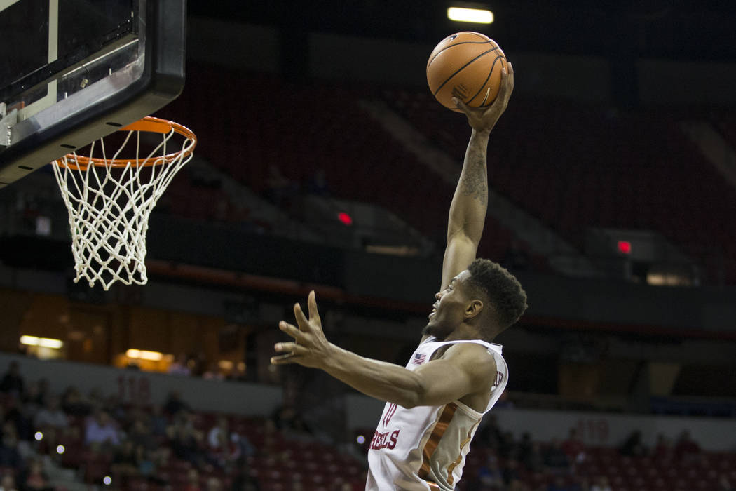 UNLV Rebels forward Shakur Juiston (10) jumps for a dunk against Air Force Falcons in the second half of the Mountain West Conference men's basketball tournament game at the Thomas & Mack Cent ...