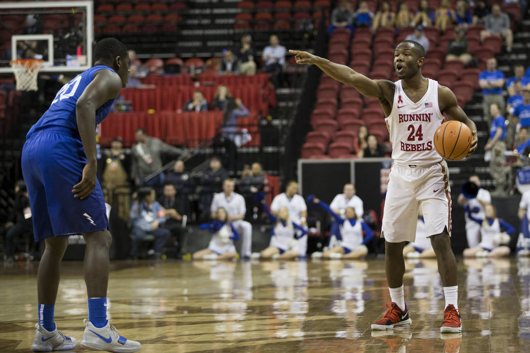 UNLV Rebels guard Jordan Johnson (24) looks for an open pass with coverage from Air Force Falcons guard Trevor Lyons (20) in the second half of the Mountain West Conference men's basketball tourna ...