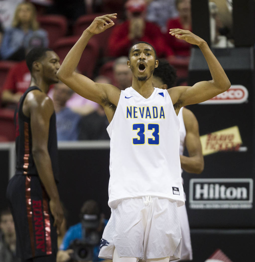 Nevada Wolf Pack guard Josh Hall (33) reacts after a score against UNLV Rebels in the first half of the Mountain West Conference men's basketball tournament game at the Thomas & Mack Center in ...