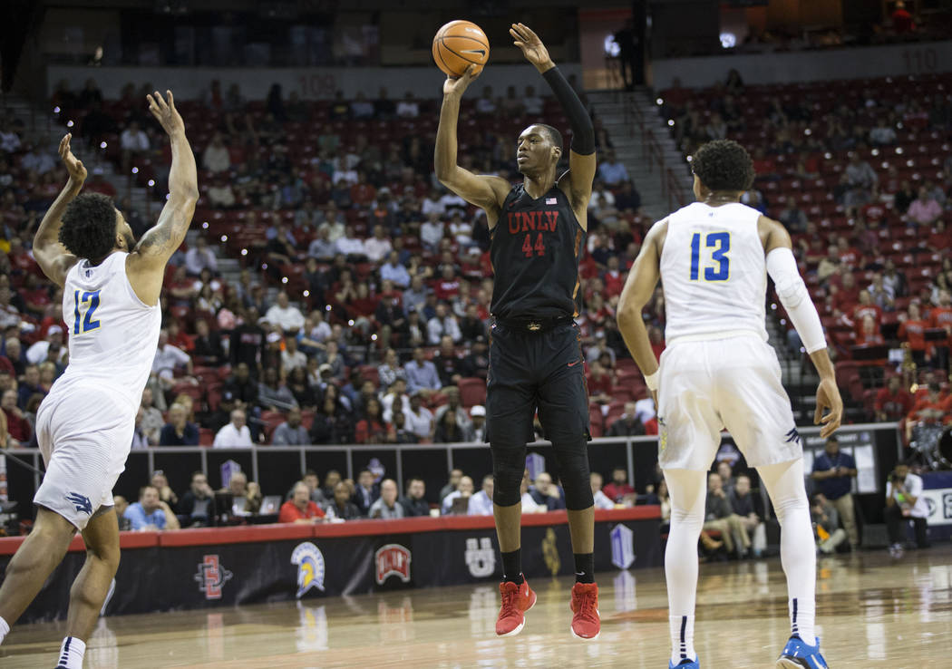 UNLV Rebels forward Brandon McCoy (44) takes a shot against Nevada Wolf Pack in the first half of the Mountain West Conference men's basketball tournament game at the Thomas & Mack Center in L ...