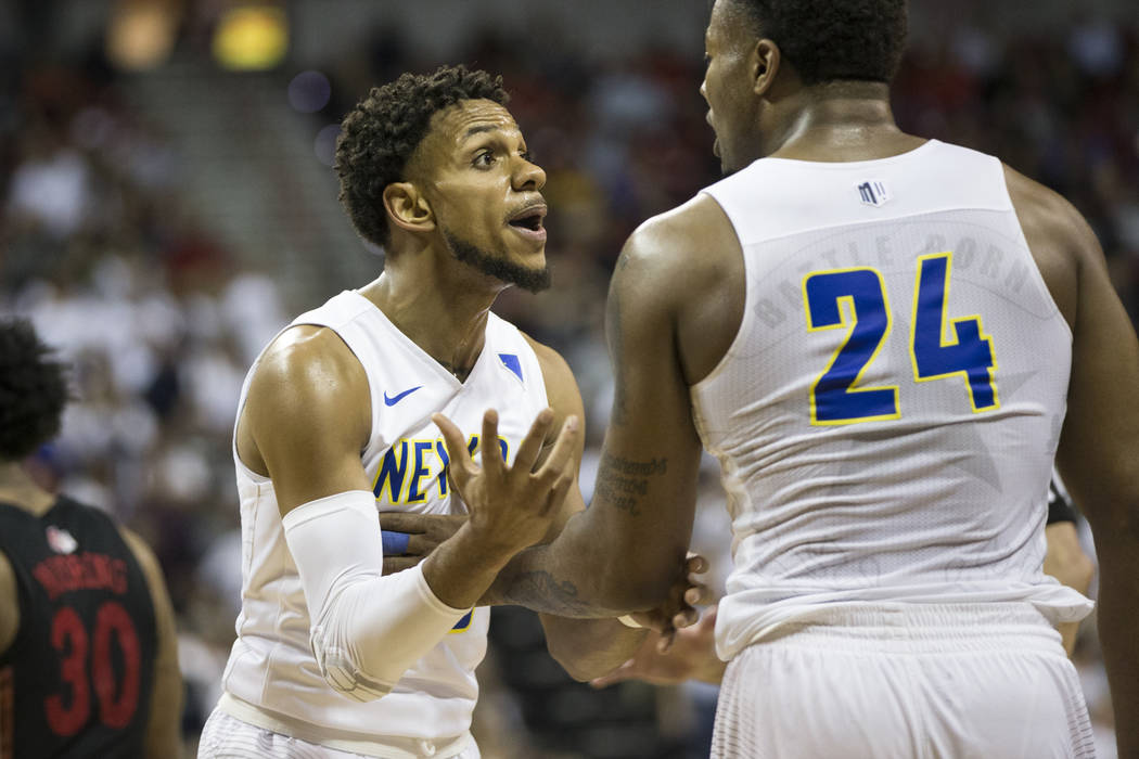 Nevada Wolf Pack guard Hallice Cooke (13) reacts after getting called for a technical foul, with guard Jordan Caroline (24), in the second half of the Mountain West Conference men's basketball tou ...
