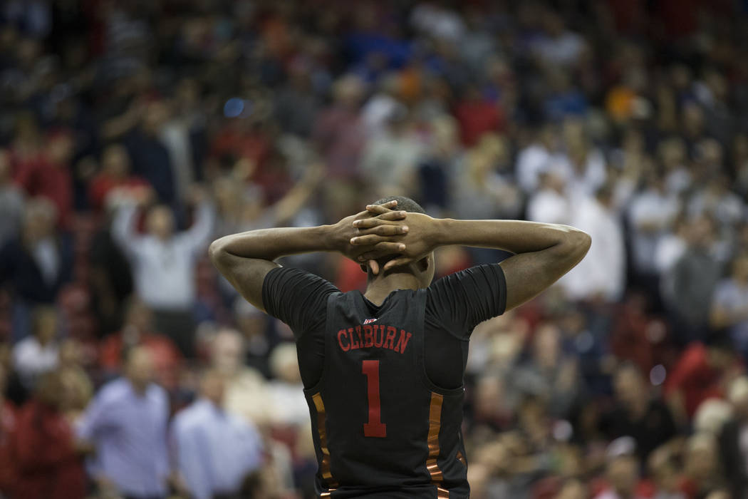 UNLV Rebels guard Kris Clyburn (1) reacts after a play against Nevada Wolf Pack in the second half of the Mountain West Conference men's basketball tournament game at the Thomas & Mack Center  ...