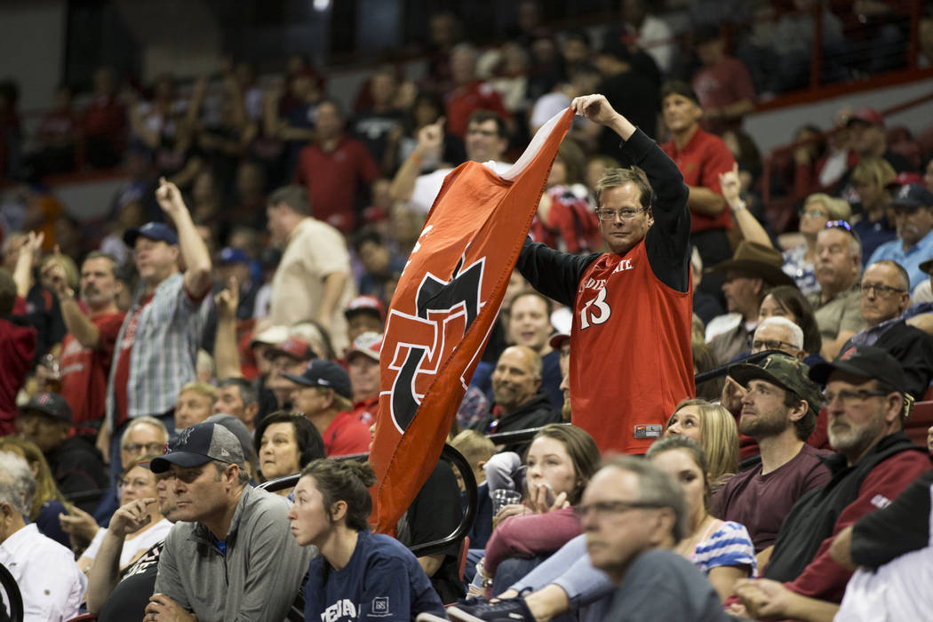 A San Diego State Aztecs fans reacts to a play in the second half of the Mountain West Conference men's basketball tournament semifinal game at the Thomas & Mack Center in Las Vegas, Friday, M ...