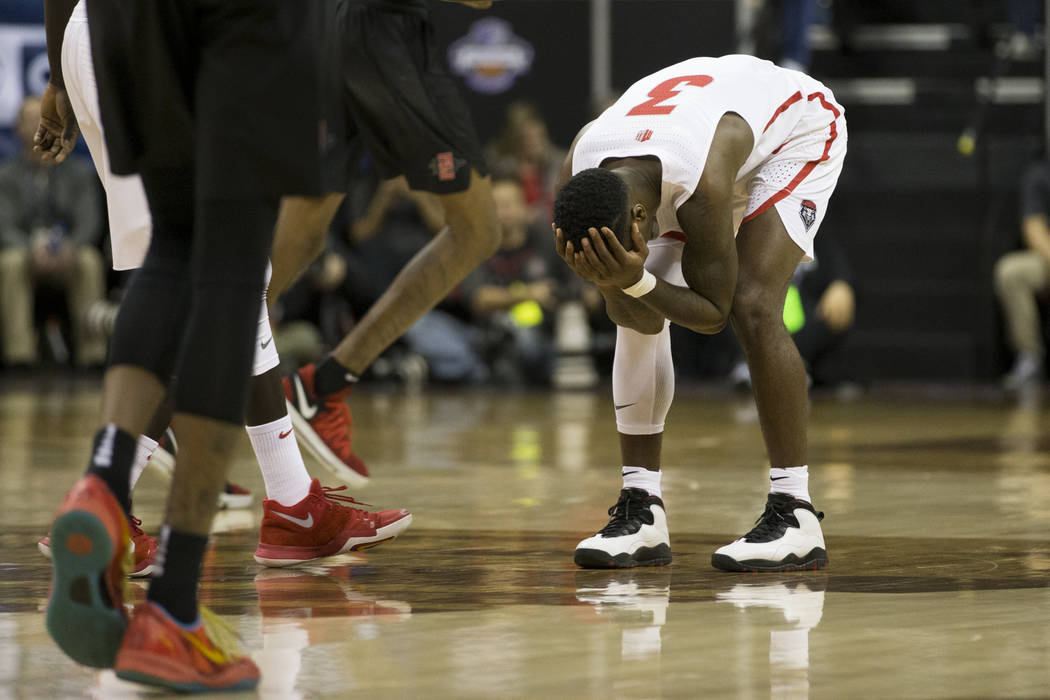 New Mexico Lobos guard Antino Jackson (3) reacts after a play against San Diego State Aztecs in the second half of the Mountain West Conference men's basketball tournament final at the Thomas &amp ...