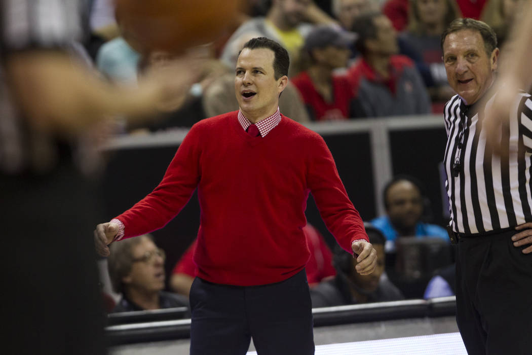 New Mexico Lobos head coach reacts to a play in the first half of the Mountain West Conference men's basketball tournament final at the Thomas & Mack Center in Las Vegas, Saturday, March 10, 2 ...