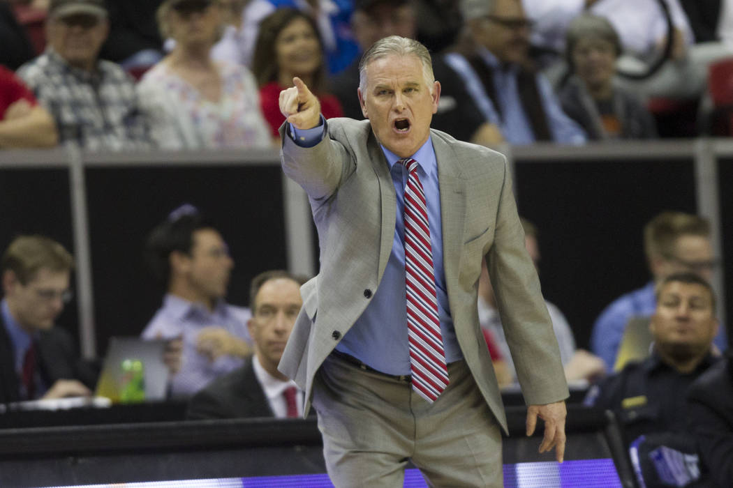 San Diego State Aztecs head coach Brian Dutcher during the second half of the Mountain West Conference men's basketball tournament final at the Thomas & Mack Center in Las Vegas, Saturday, Mar ...