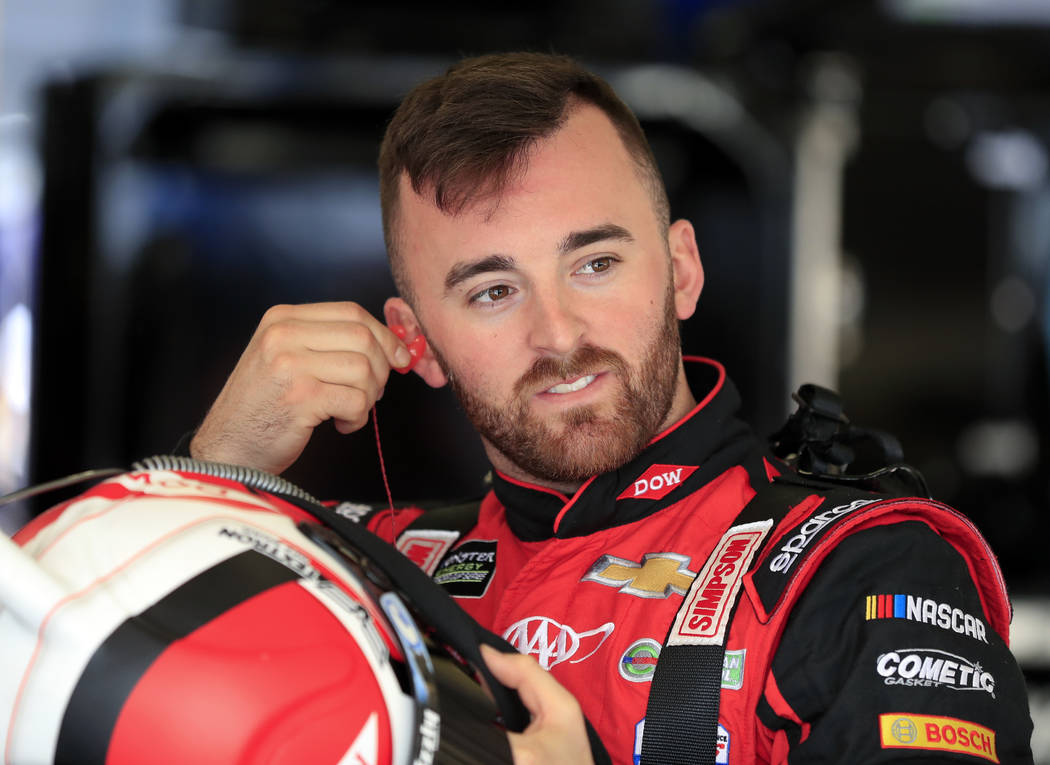 NASCAR Cup Series driver Austin Dillon (3) gets ready to practice for Sunday's NSCAR Cup series auto race at Atlanta Motor Speedway in Hampton, Ga., on Saturday, Feb. 24, 2018. (AP Photo/Paul Abell)