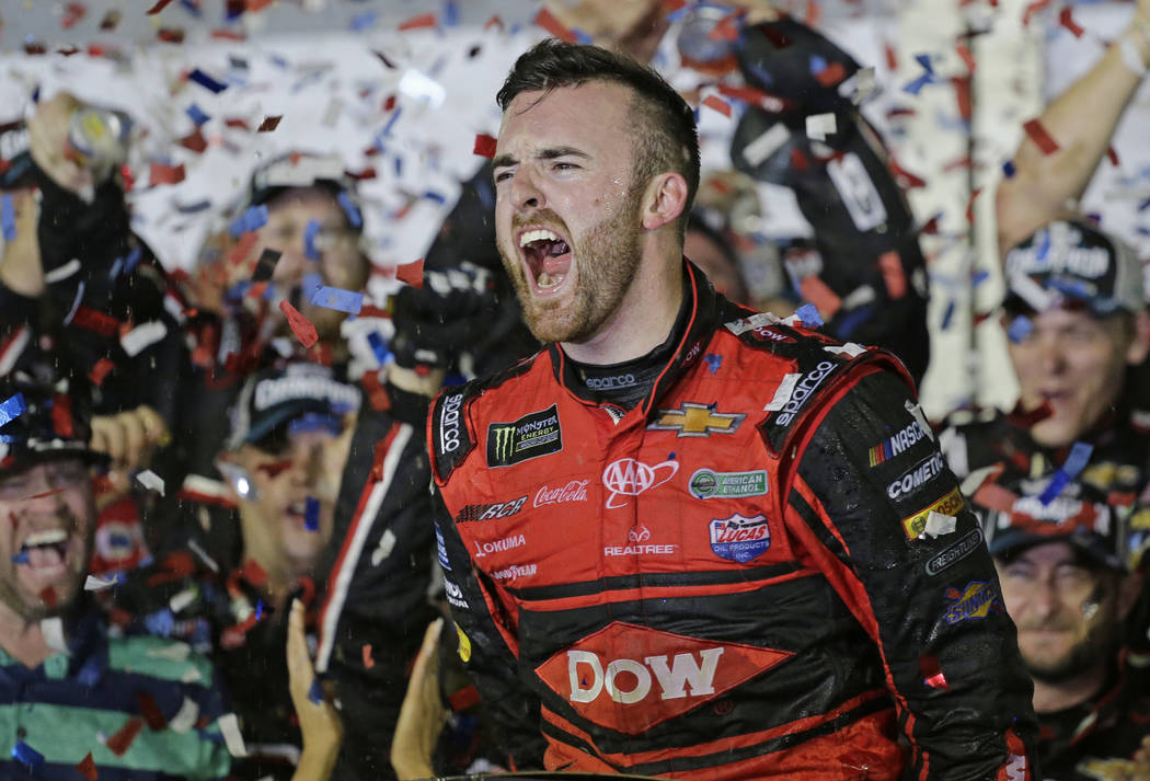 Austin Dillon celebrates in Victory Lane after winning the NASCAR Daytona 500 Cup series auto race at Daytona International Speedway in Daytona Beach, Fla., Sunday, Feb. 18, 2018. (AP Photo/Terry  ...