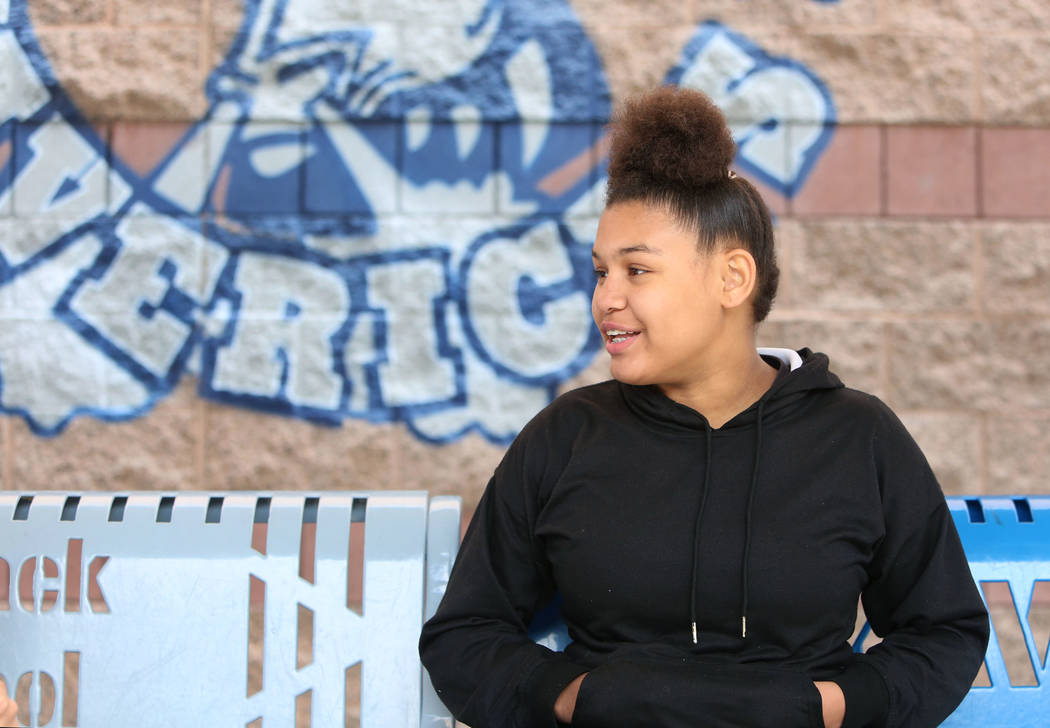 Mack Middle School student, Cindy Spencer, 12, speaks during an interview with the Las Vegas Review-Journal at her school on Thursday Feb. 22, 2018, in Las Vegas. Bizuayehu Tesfaye/Las Vegas Revie ...