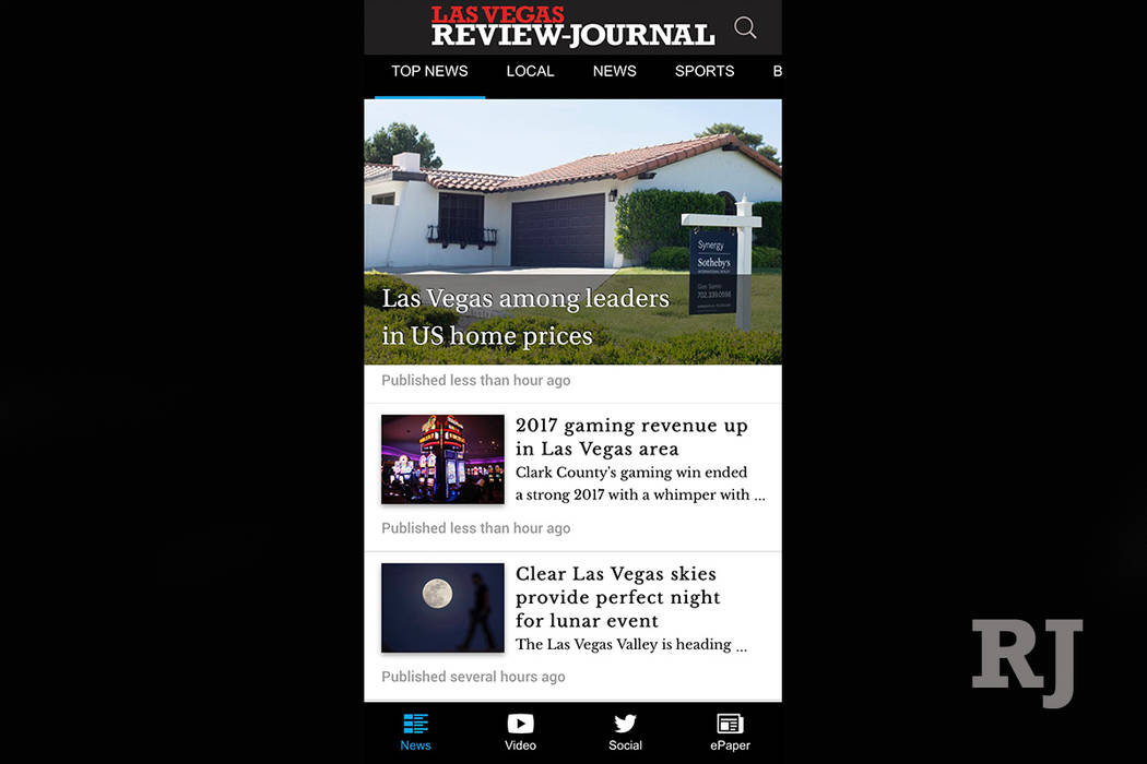 The front page of the new RJ app.