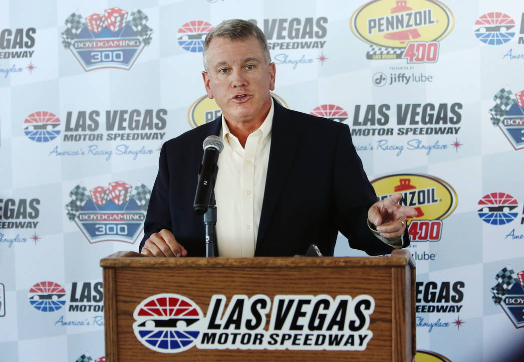 Las Vegas Motor Speedway President, Chris Powell, speaks during a press conference at LVMS on Tuesday, Feb. 20, 2018, in Las Vegas. The completion of construction to widen Interstate 15 near the s ...