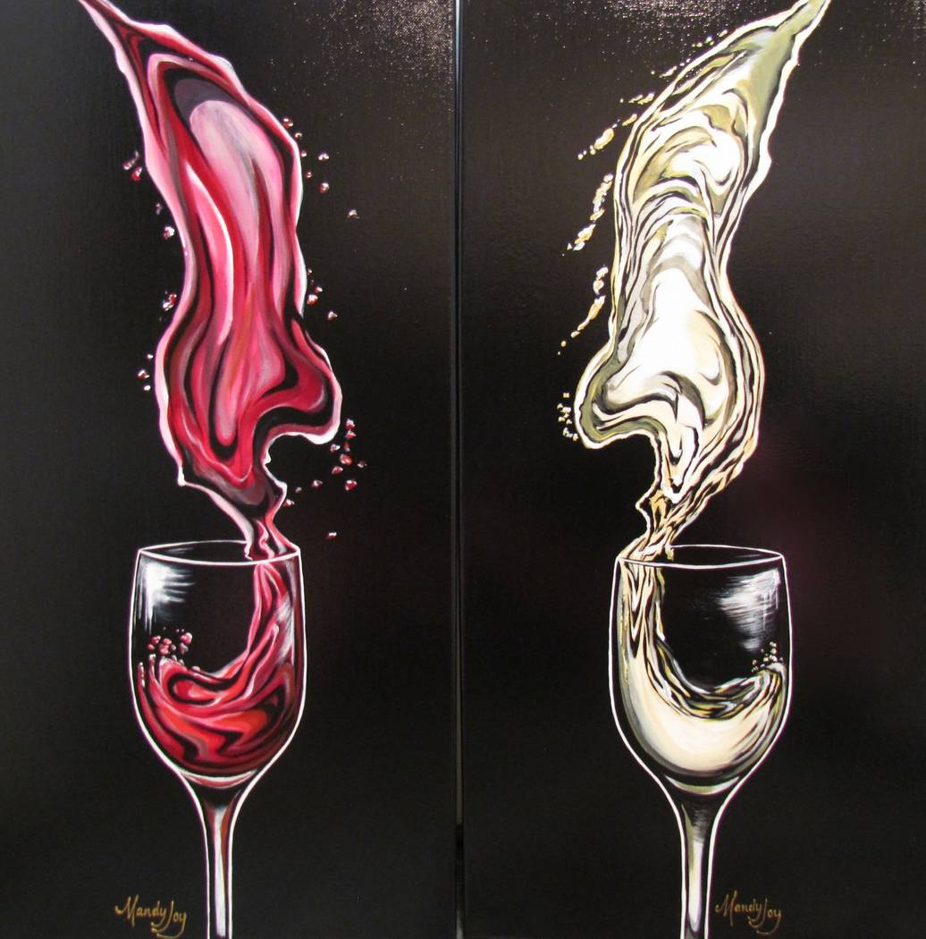 "Mandy Joy Wine set ""A Splash of Red"" and ""A Splash of White."""