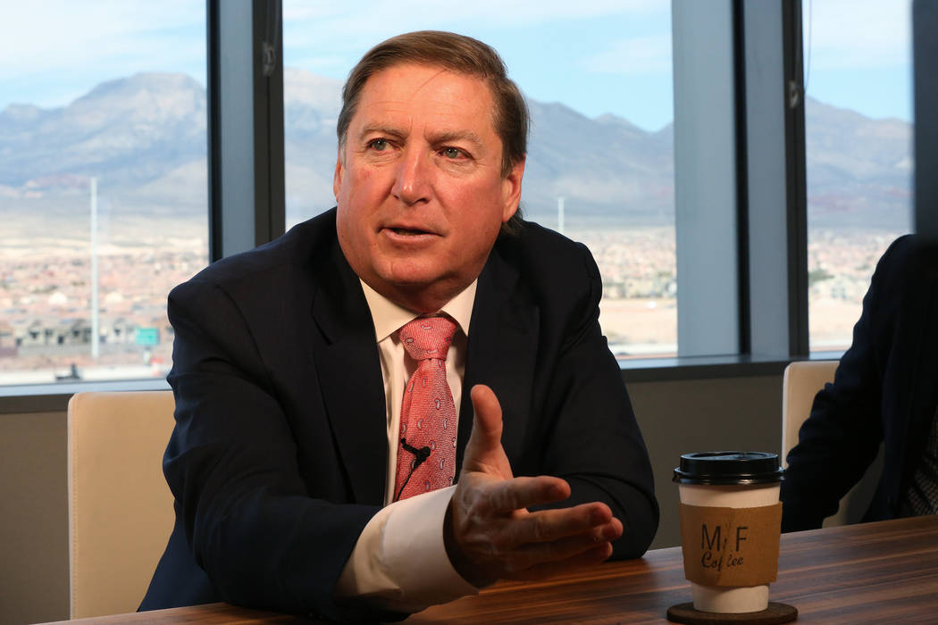 Dan Lee, CEO of Full House Resorts, discusses investments the company has made in casinos outside of Nevada at the company's offices in Summerlin on Thursday, February 22, 2018. (Michael Quine/L ...