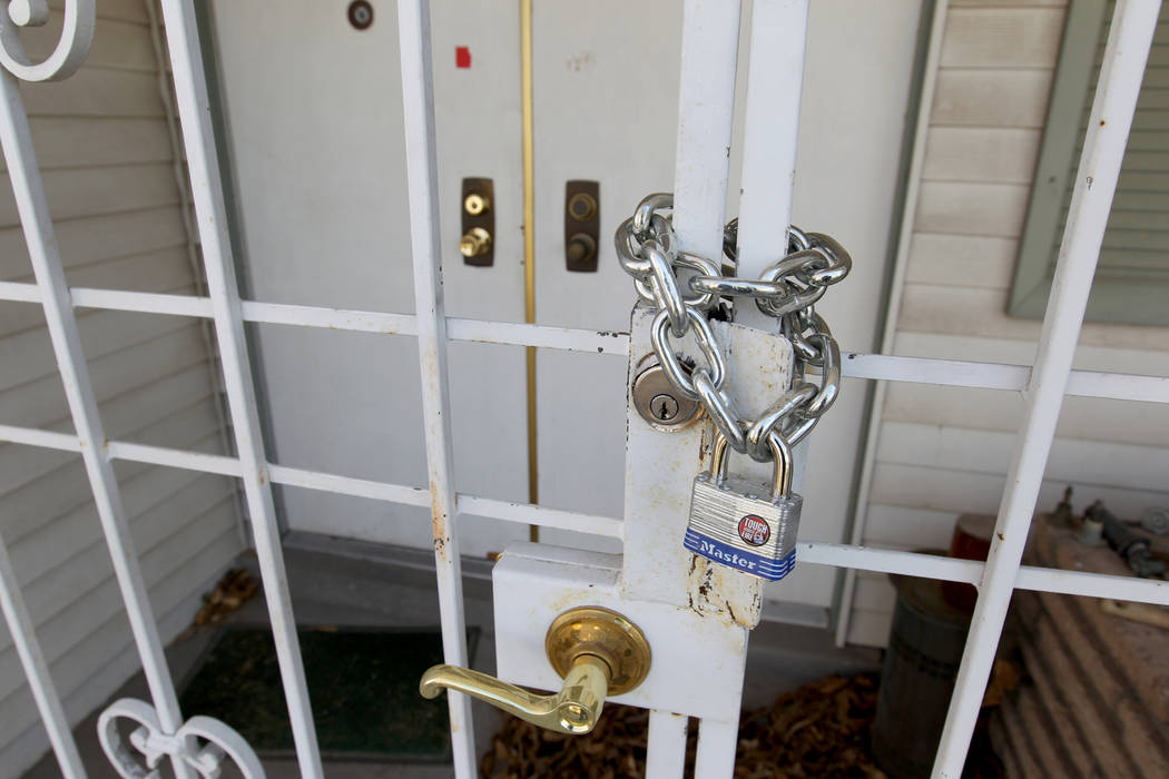 The front door of home at 809 Palmhurst Drive in Las Vegas Thursday, Feb. 22, 2018. After owner Carole Barnish died last August, Shalena Earnheart claimed ownership, sparking a dispute. A neighbor ...