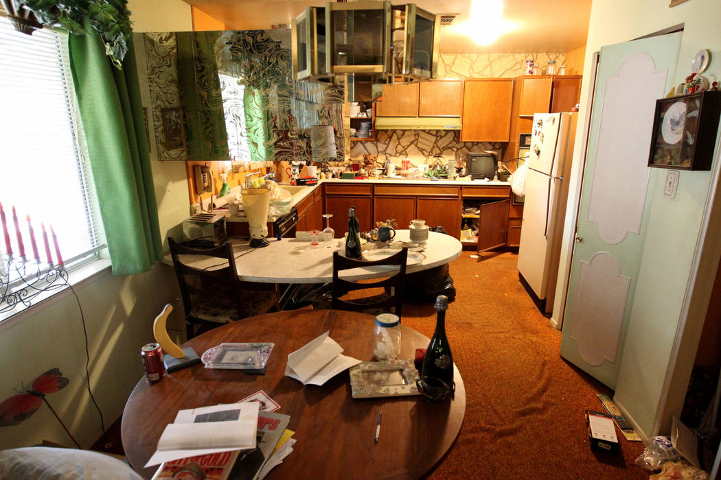 The kitchen of home at 809 Palmhurst Drive in Las Vegas Thursday, Feb. 22, 2018. After home owner Carole Barnish died last August, Shalena Earnheart claimed ownership, sparking a dispute. A neighb ...