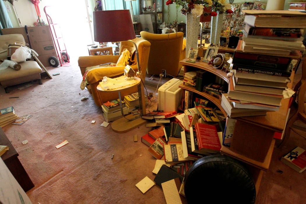 The living room of home at 809 Palmhurst Drive in Las Vegas Thursday, Feb. 22, 2018. After home owner Carole Barnish died last August, Shalena Earnheart claimed ownership, sparking a dispute. A ne ...