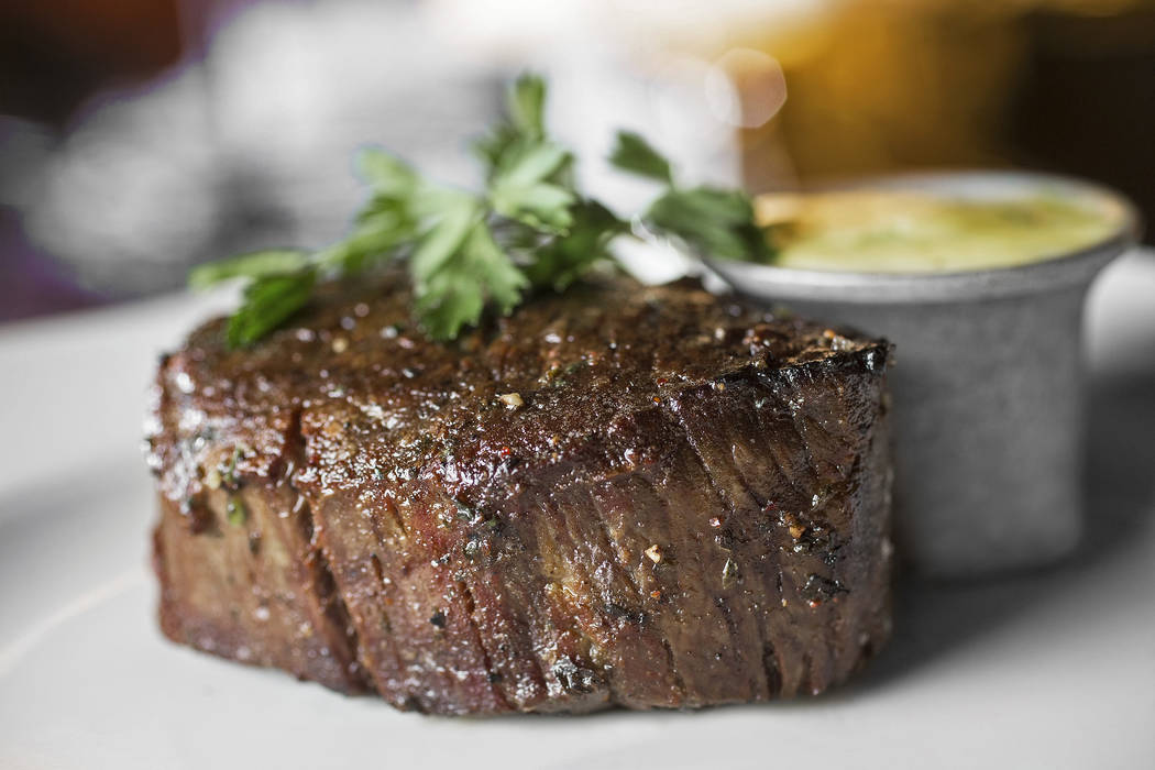 Traditional filet mignon with barnaise and steak salt at Bavette's Steakhouse & Bar on Monday, February 26, 2018, at the Monte Carlo hotel-casino, in Las Vegas. Benjamin Hager Las Vegas Review ...