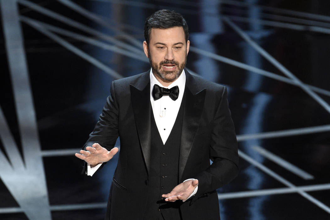 FILE - In this Feb. 26, 2017, file photo, host Jimmy Kimmel appears at the Oscars in Los Angeles.  (Photo by Chris Pizzello/Invision/AP, File)