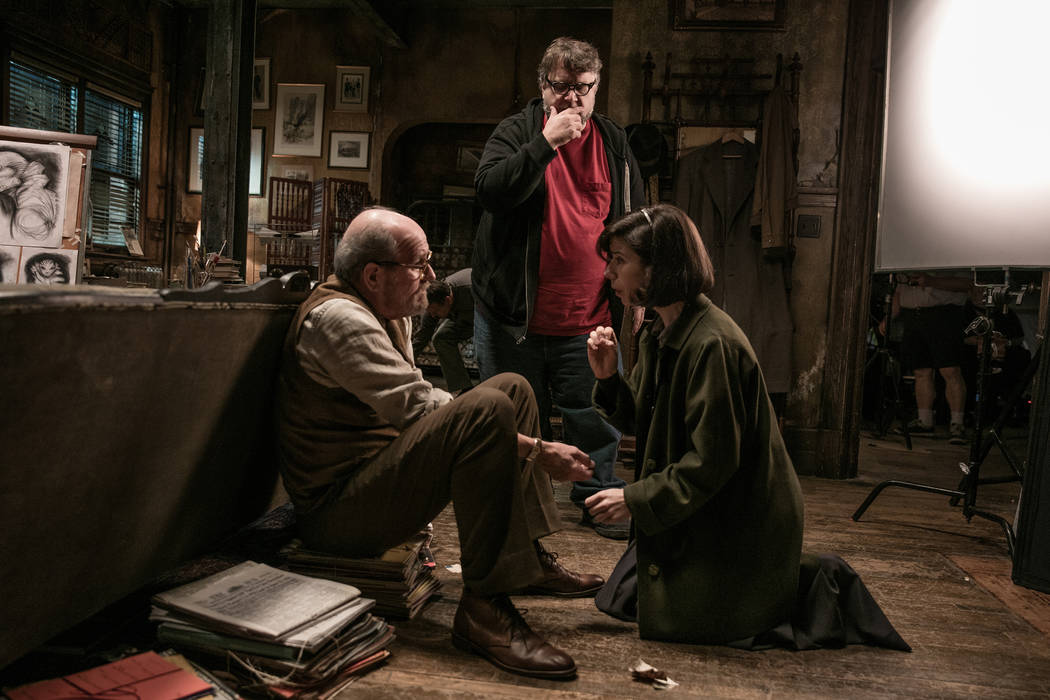 Richard Jenkins, director Guillermo del Toro and Sally Hawkins on the set of THE SHAPE OF WATER. Photo by Kerry Hayes. © 2017 Twentieth Century Fox Film Corporation All Rights Reserved