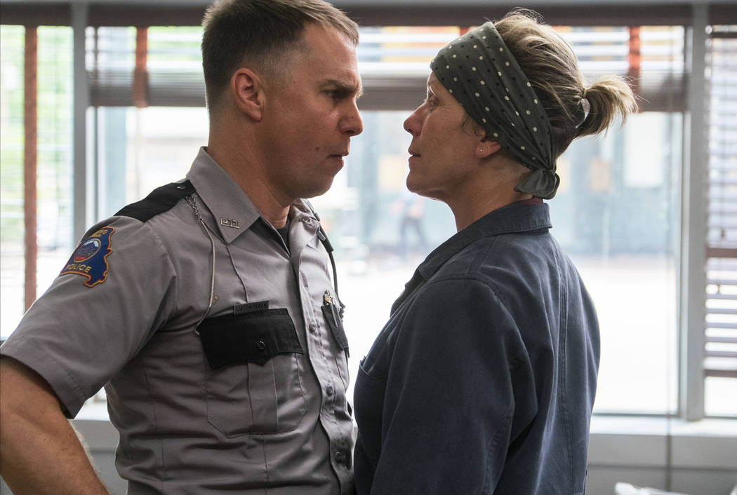 Sam Rockwell and Frances McDormand in the film THREE BILLBOARDS OUTSIDE EBBING, MISSOURI.  Photo by Merrick Morton. (Twentieth Century Fox Film Corporation)