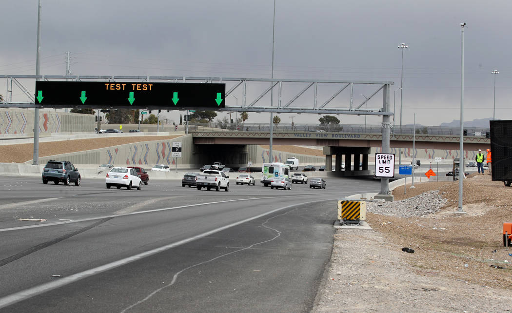 Nevada Department of Transportation tests a new Active Traffic Management sign on southbound U.S. Highway 95 near Valley View Boulevard approaching the Spaghetti Bowl in Las Vegas Wednesday, Feb.  ...