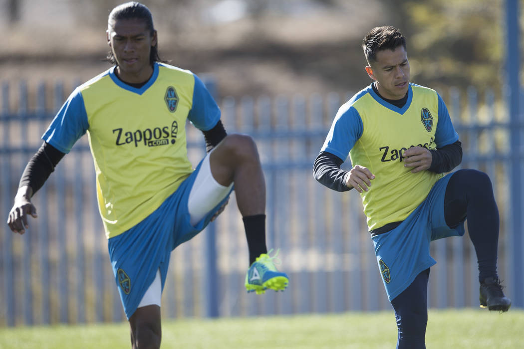 Las Vegas Light FC's Joel Huiqui, left, and Marcelo Alatorre during a team practice at Kellogg Zaher Soccer Complex in Las Vegas, Thursday, Jan. 25, 2018. Erik Verduzco Las Vegas Review-Journal @E ...