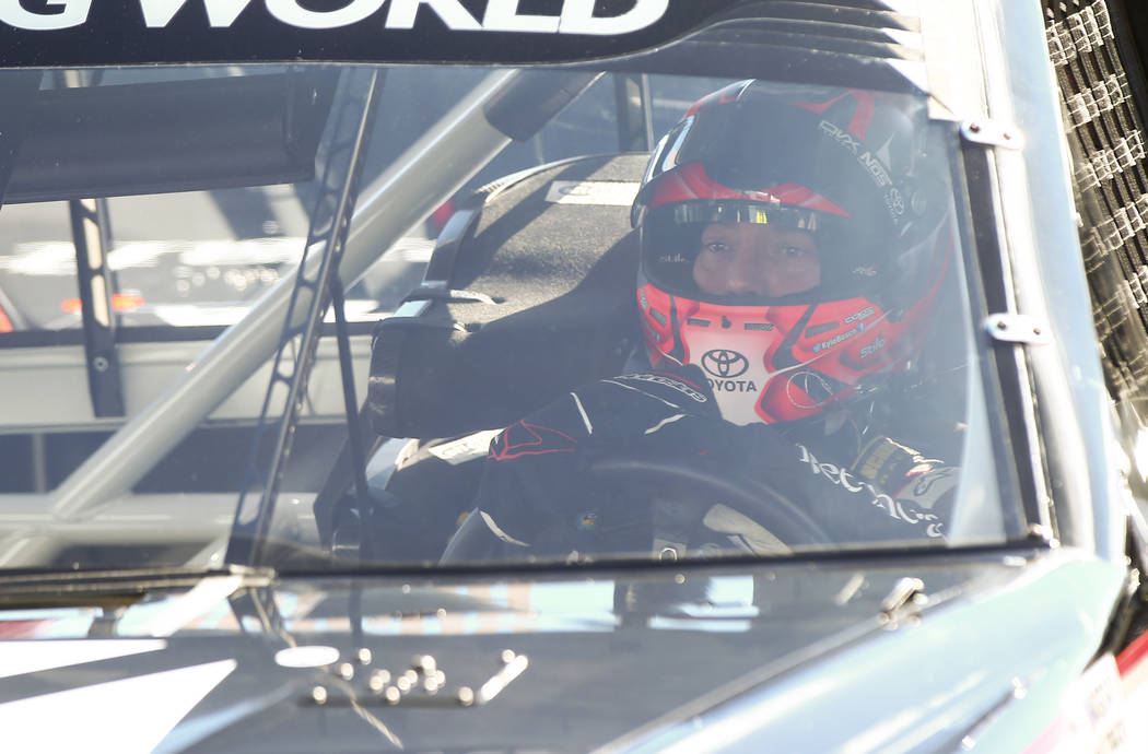 Kyle Busch (51) during practice ahead of the NASCAR Camping World Truck Series, slated for Friday, at the Las Vegas Motor Speedway in Las Vegas on Thursday, March 1, 2018. Chase Stevens Las Vegas  ...