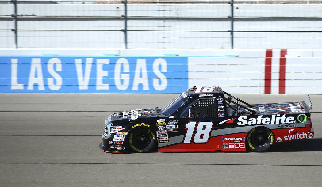 Noah Gragson (18) during practice ahead of the NASCAR Camping World Truck Series, slated for Friday, at the Las Vegas Motor Speedway in Las Vegas on Thursday, March 1, 2018. Chase Stevens Las Vega ...