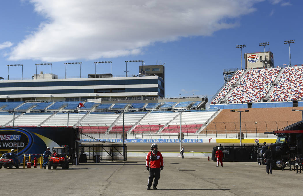 Race officials during practice ahead of the NASCAR Camping World Truck Series, slated for Friday, at the Las Vegas Motor Speedway in Las Vegas on Thursday, March 1, 2018. Chase Stevens Las Vegas R ...