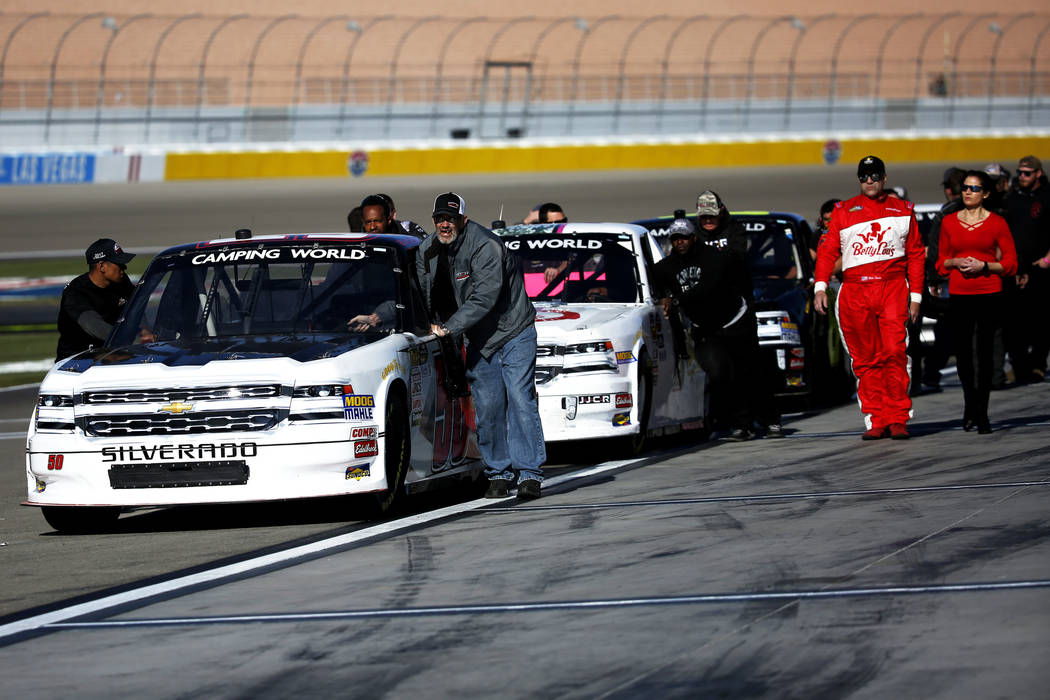 Drivers line up for the NASCAR Camping World Truck Series Qualifier at the Las Vegas Motor Speedway in Las Vegas on Friday, March 2, 2018. Andrea Cornejo Las Vegas Review-Journal @DreaCornejo