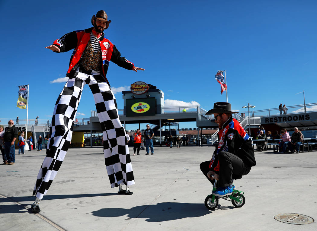 Chris Crescent, a 35-year-old entertainer from Las Vegas, and Kyle Petersen, a 33-year-old entertainer from Las Vegas, right, at the Las Vegas Motor Speedway in Las Vegas on Friday, March 2, 2018. ...
