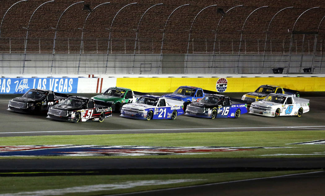 Drivers compete in the Nascar Camping World Truck Series race at the Las Vegas Motor Speedway in Las Vegas on Friday, March 2, 2018. Andrea Cornejo Las Vegas Review-Journal @DreaCornejo