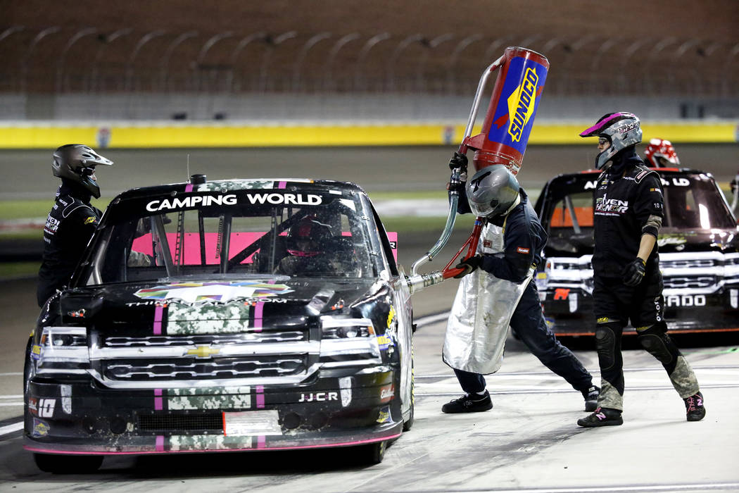 A driver fuels up during the Nascar Camping World Truck Series race at the Las Vegas Motor Speedway in Las Vegas on Friday, March 2, 2018. Andrea Cornejo Las Vegas Review-Journal @DreaCornejo