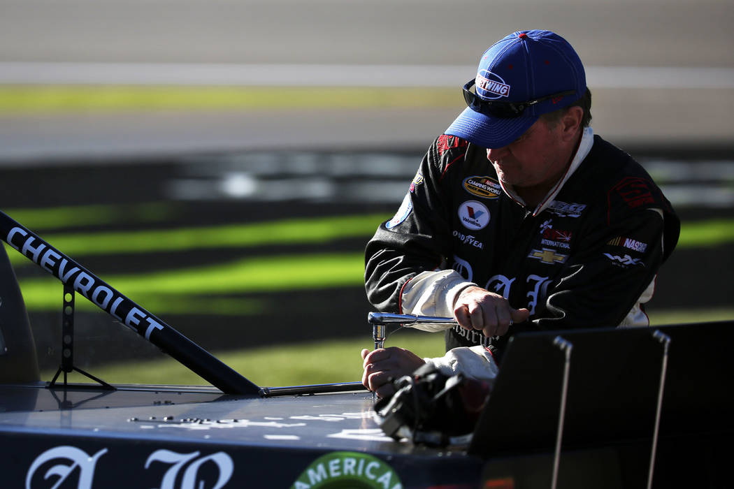 Joe Nemechek (87) prepares for the NASCAR Camping World Truck Series Qualifier at the Las Vegas Motor Speedway in Las Vegas on Friday, March 2, 2018. Andrea Cornejo Las Vegas Review-Journal @DreaC ...
