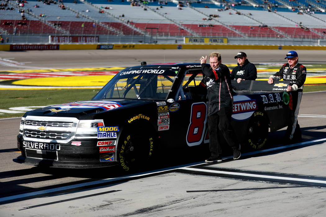 Joe Nemechek (87) and his crew prepare for the NASCAR Camping World Truck Series Qualifier at the Las Vegas Motor Speedway in Las Vegas on Friday, March 2, 2018. Andrea Cornejo Las Vegas Review-Jo ...