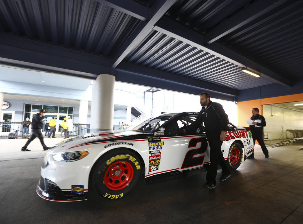 Members of Monster Energy NASCAR Cup Series driver Brad Keselowski's (2) go through inspections at the Las Vegas Motor Speedway in Las Vegas on Saturday, March 3, 2018. Chase Stevens Las Vegas Rev ...